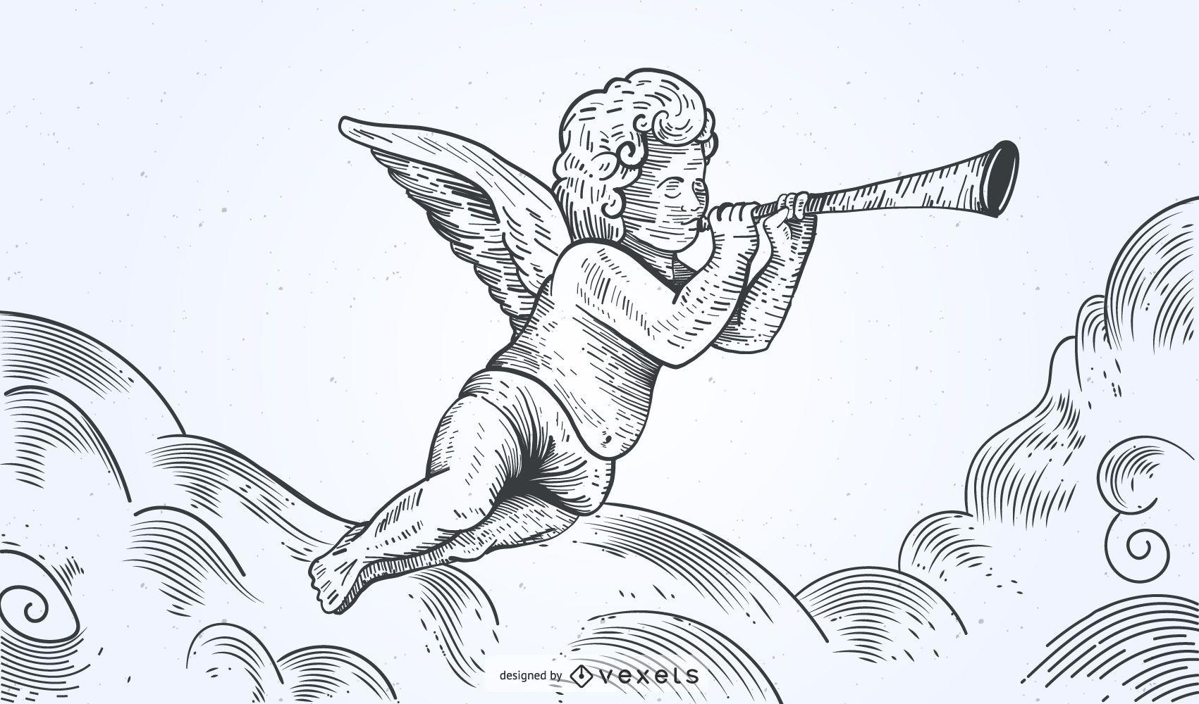 Ángel dibujado a mano