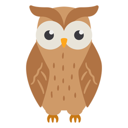 Owl light brown eyes open flat