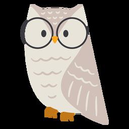 Owl light grey glasses flat