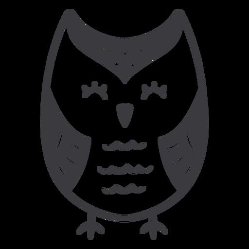 Owl light eyes closed flat Transparent PNG