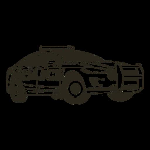 Coche de policía enciende moderno trazo derecho