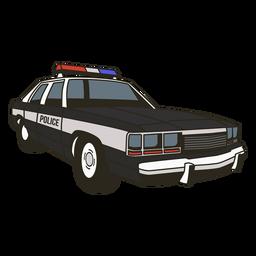 Las luces del coche de policía a la derecha