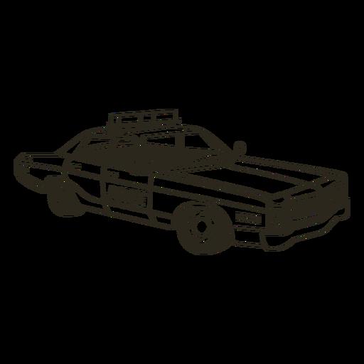 Police car lights right vintage stroke Transparent PNG