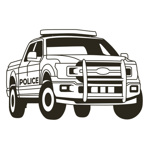 Police car pickup truck right stroke Transparent PNG
