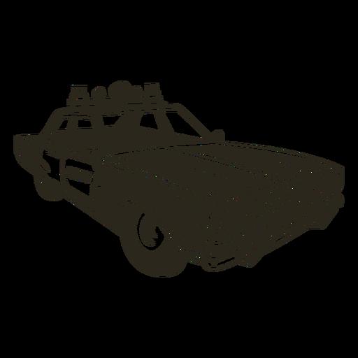 La sirena del coche de policía se enciende a la derecha