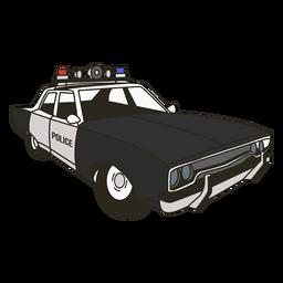 La sirena del coche de policía enciende el coche de policía derecho