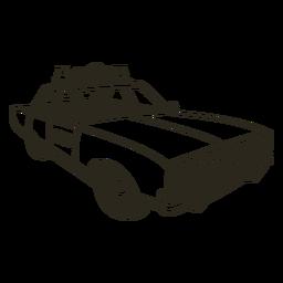 Sirena de coche de policía enciende trazo derecho