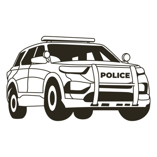 Police car truck right stroke Transparent PNG