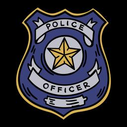Mão de distintivo de policial desenhada