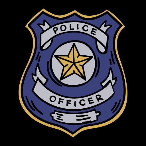 Dibujado a mano insignia de oficial de policía