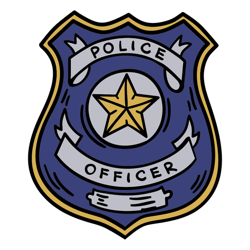 Police officer badge hand drawn