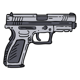 Police pistol hand drawn