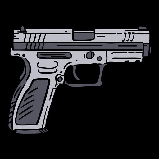 Police pistol hand drawn