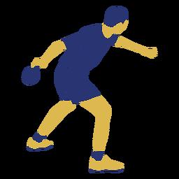 Hombre de tenis de mesa golpeando plano