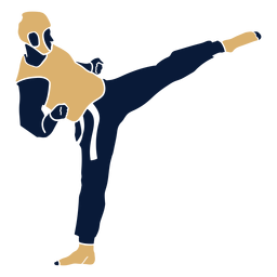 Hombre de taekwondo golpeando plano