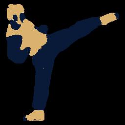 Taekwondo hombre golpeando plana