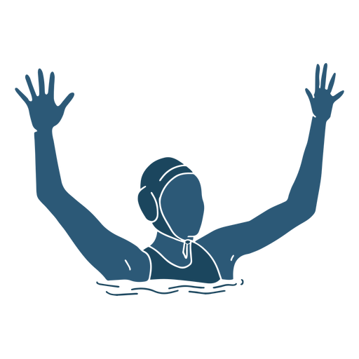 Waterpolo woman hands raised