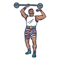 Weight lifter circus hand drawn