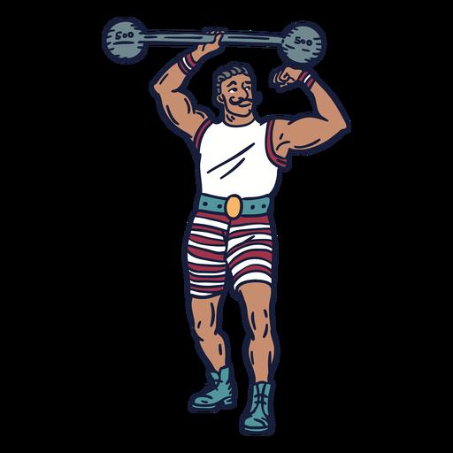 Dibujado a mano circo levantador de pesas