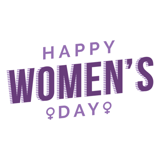 Womens day lettering happy flat Transparent PNG
