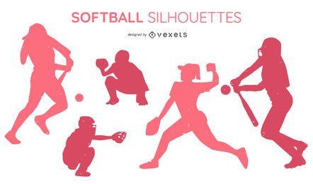 Pacote de silhuetas de softball para pessoas
