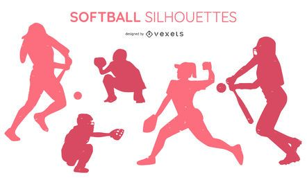 Softball People Silhouette Pack