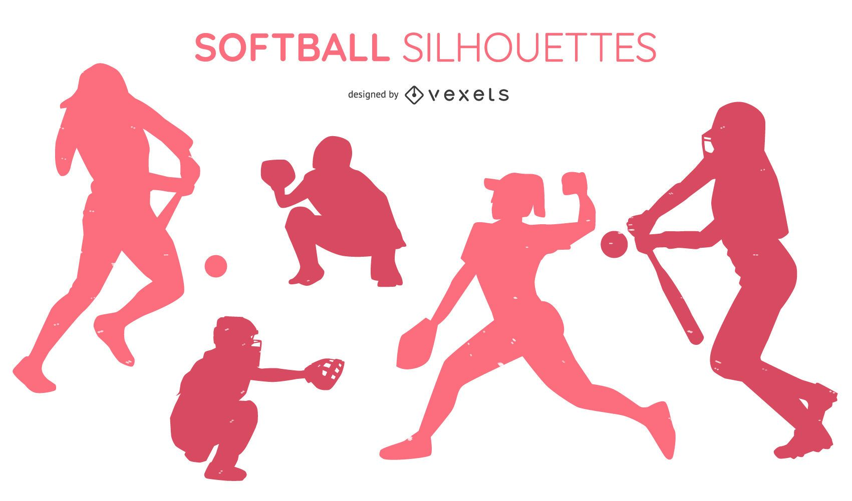 Softball People Silhouette Pack