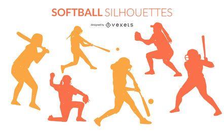 Paquete de silueta deportiva de softbol