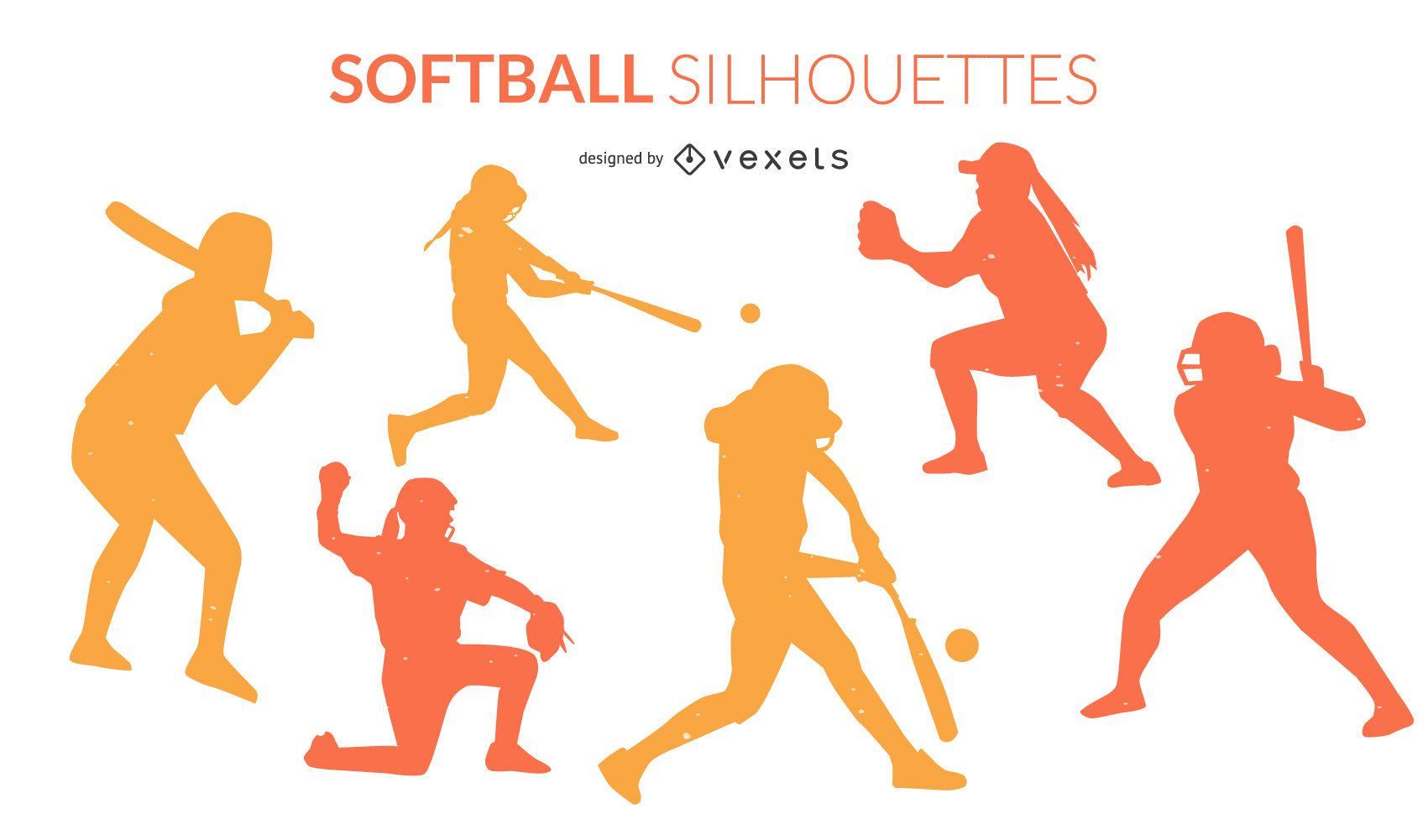 Paquete de silueta de deportes de softbol