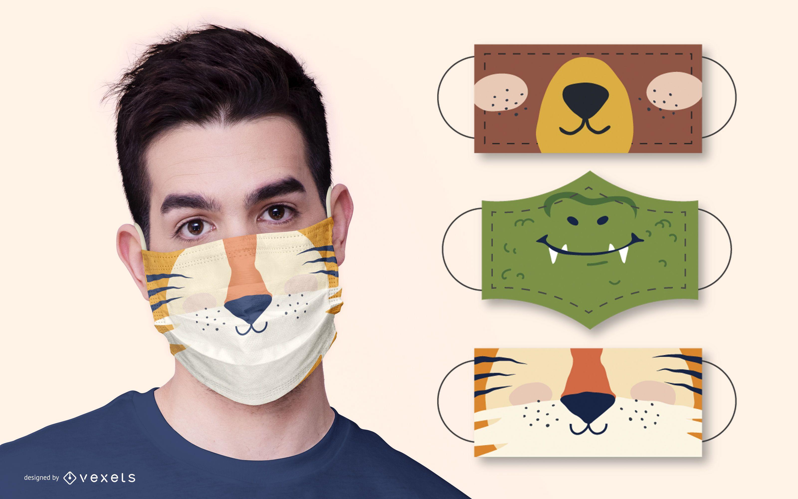 Pacote de design de máscara facial de animal