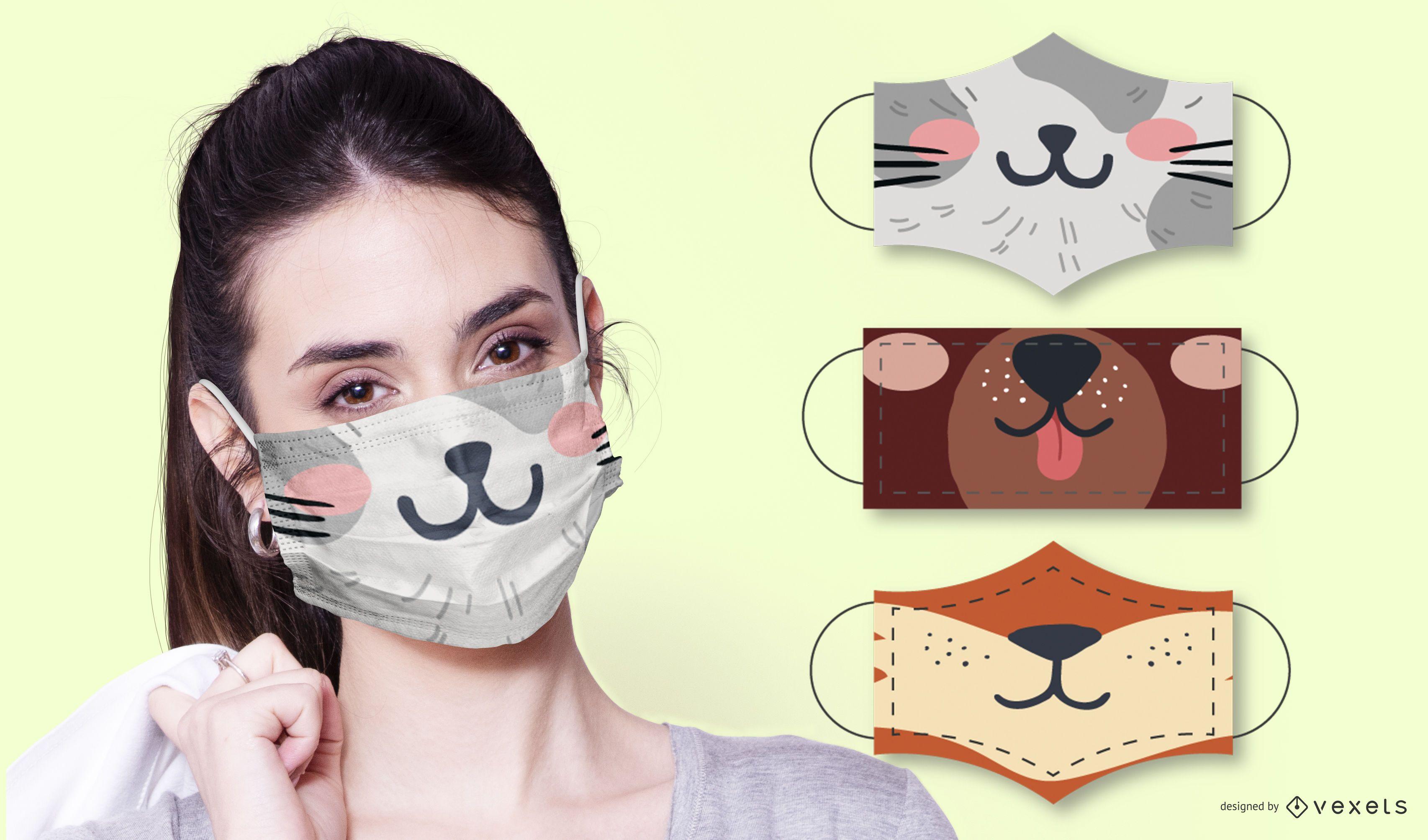 Cute animals face mask set