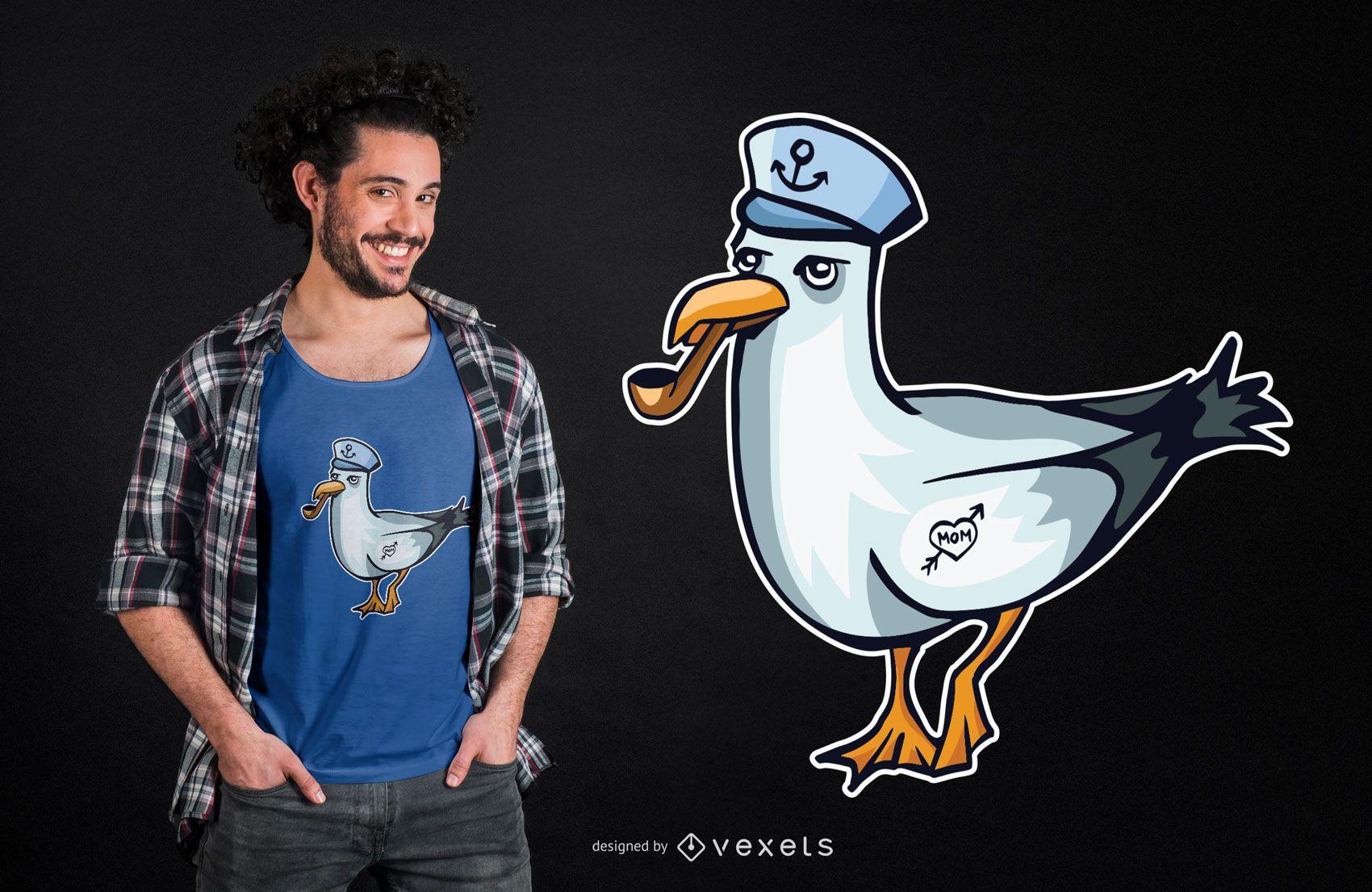 Diseño de camiseta Sailor Seagull