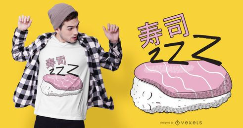 Design de camiseta de sushi para dormir