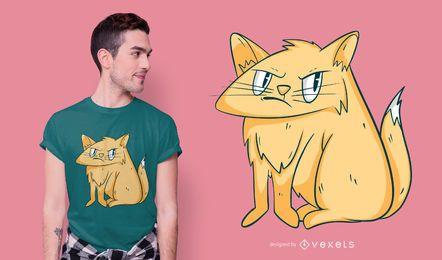 Diseño de camiseta de ilustración de gato gruñón