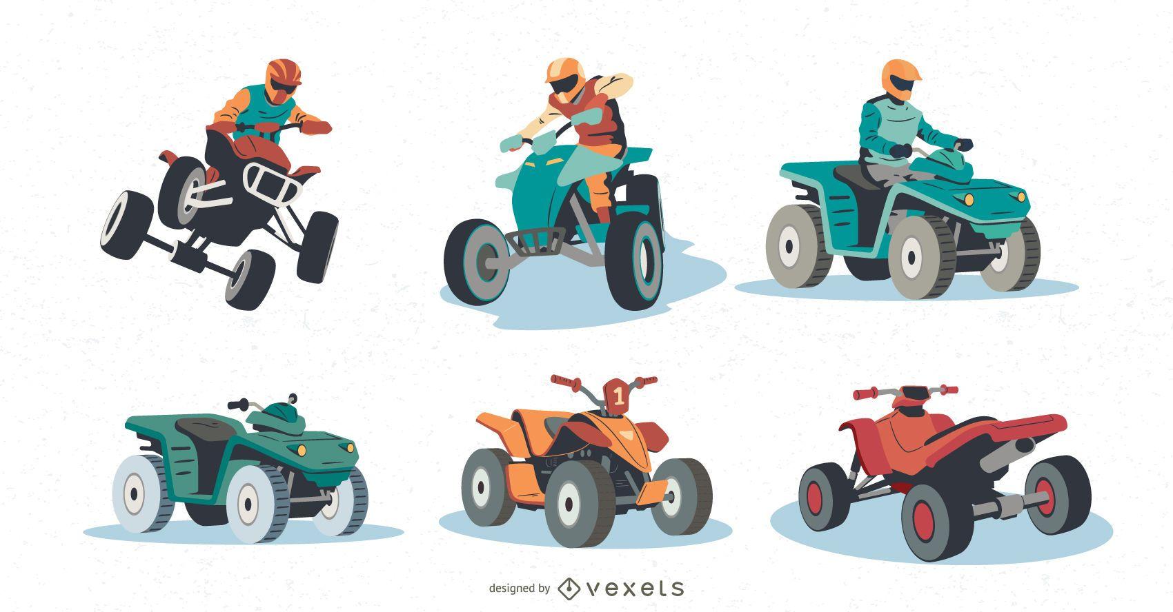 quad bikers illustration set