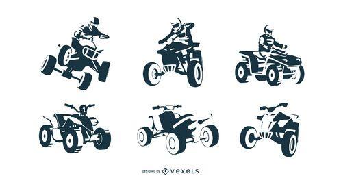 conjunto de moto-quatro preto