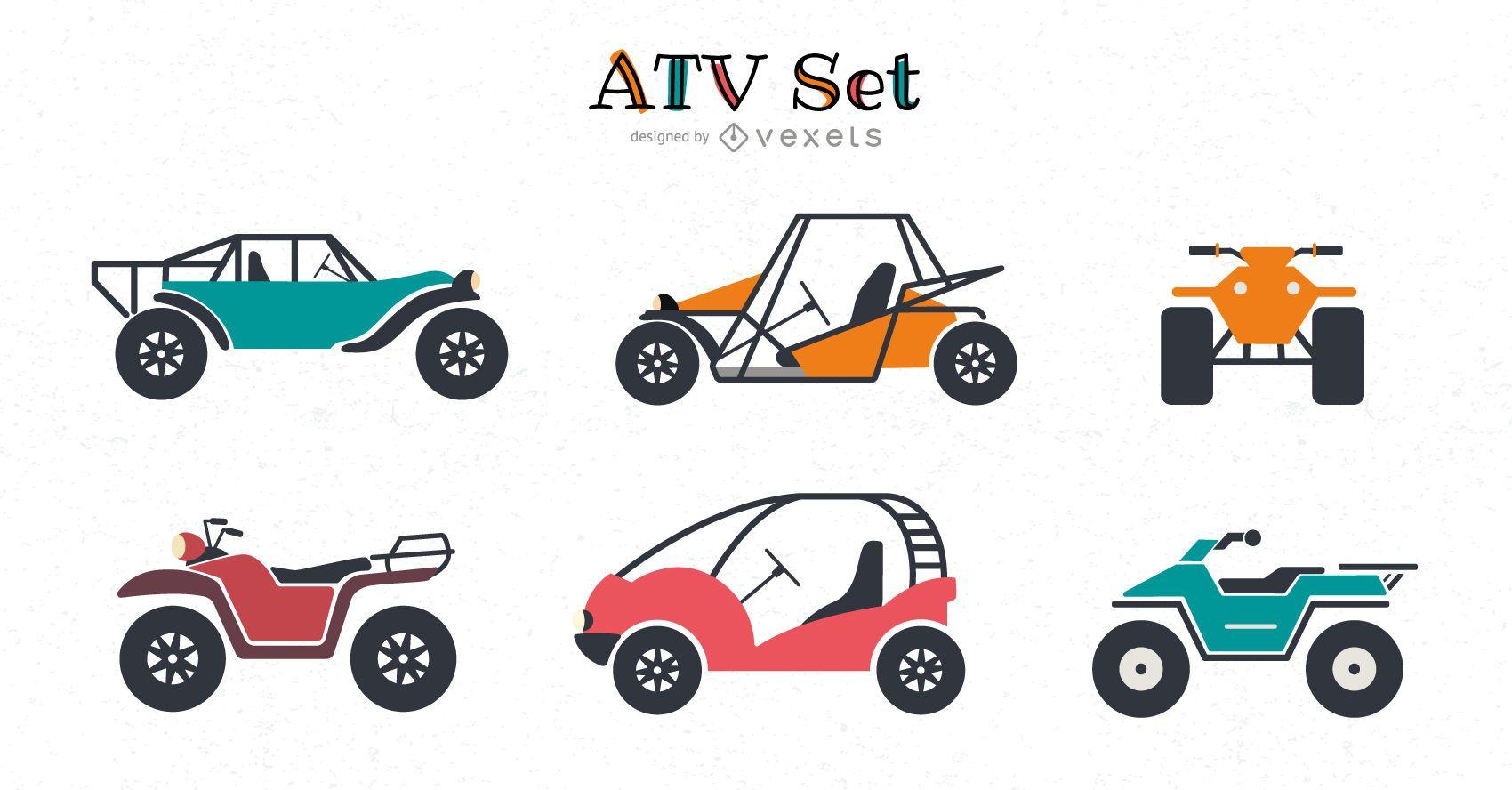 conjunto plano de vehículos todo terreno