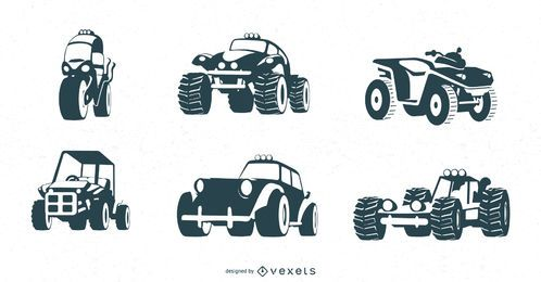 conjunto negro de vehículos todo terreno