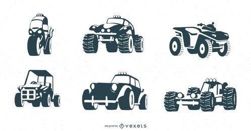 conjunto negro vehículos todo terreno