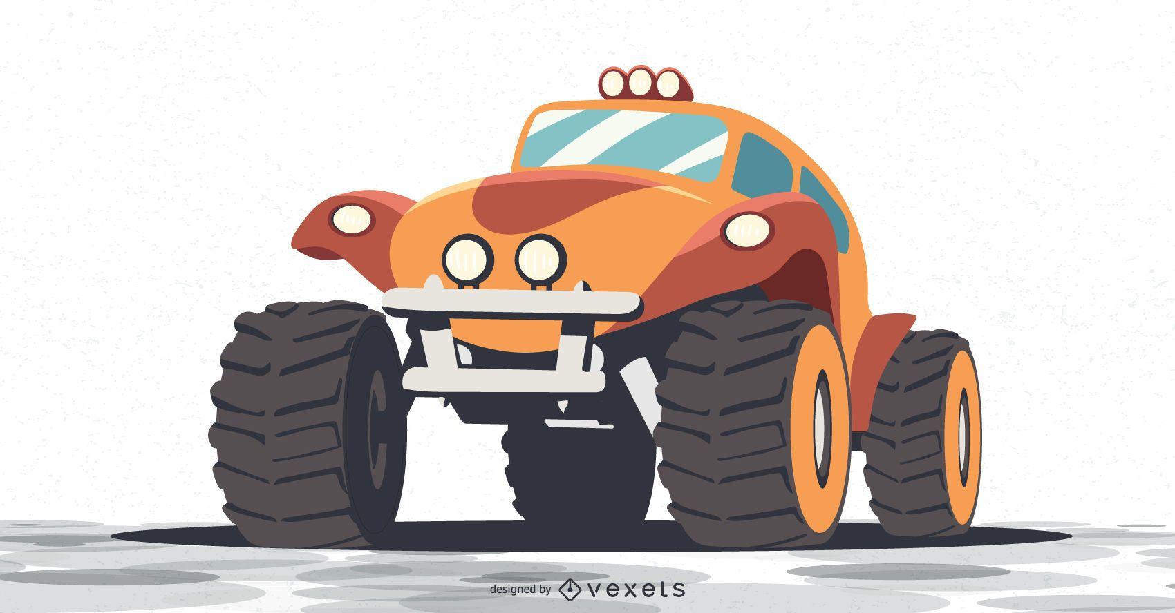 orange monster truck illustration