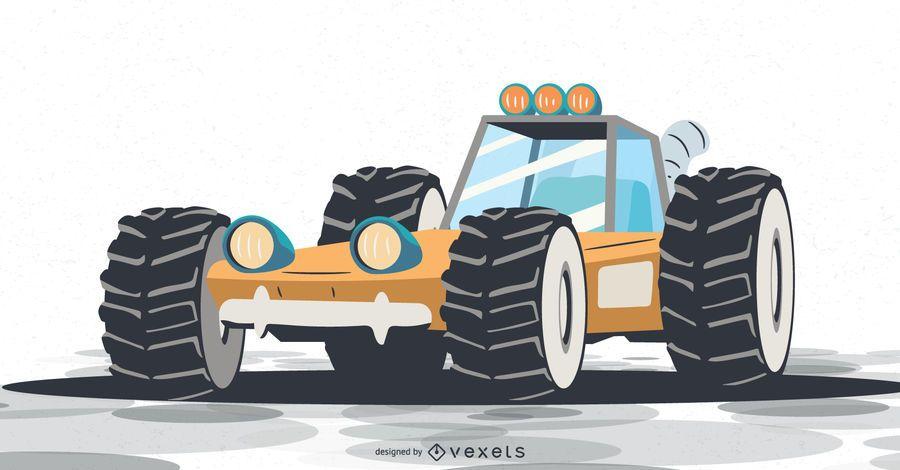 yellow rally raid vehicle