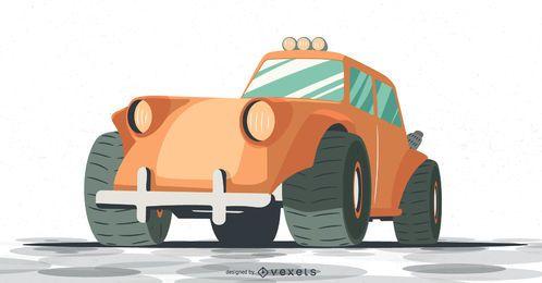 ilustração de carrinho de rali laranja