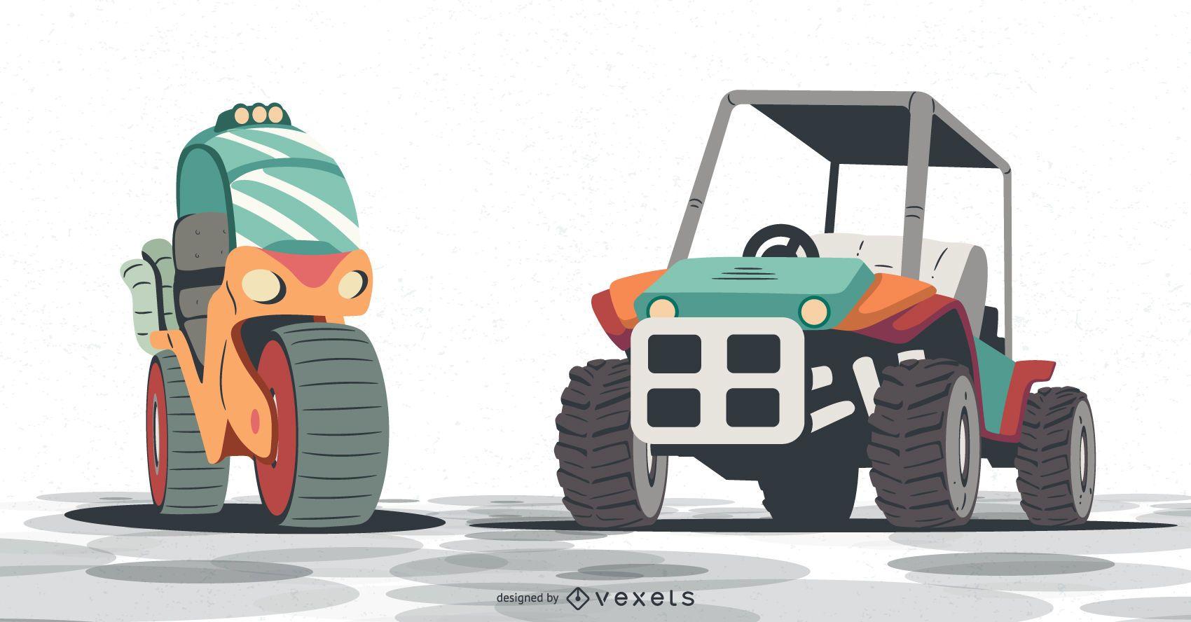 orange rally vehicles illustration