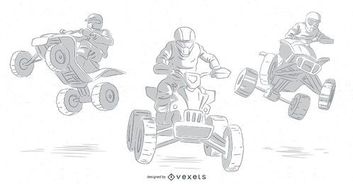 quad bikers hand drawn set