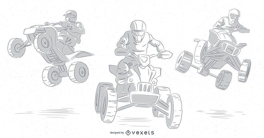 motoqueiros quad mão desenhado conjunto