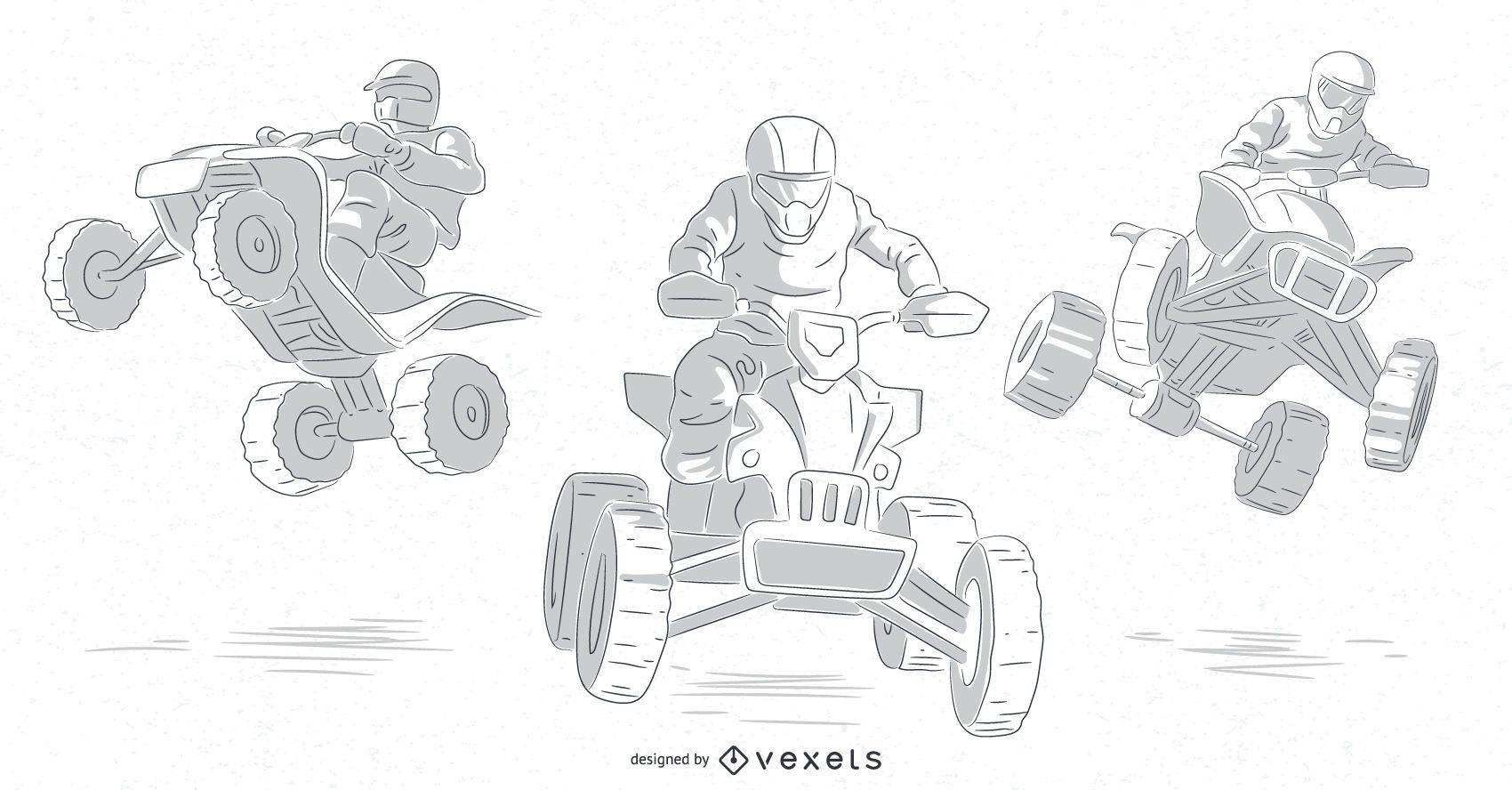 quad bikers hand drawn set