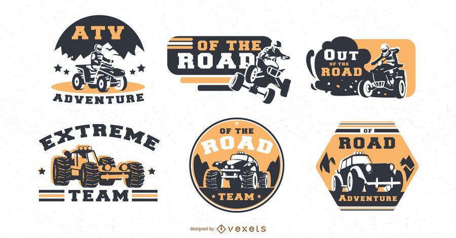 conjunto de emblemas de estrada atv