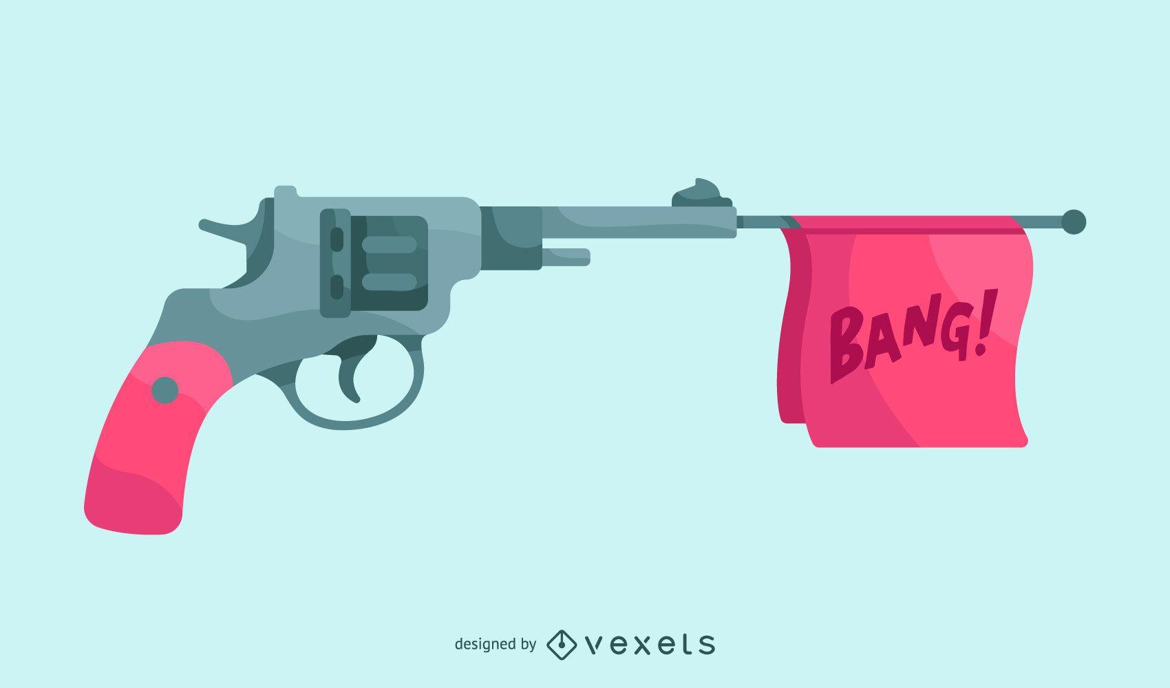 Ilustración de pistola de juguete Bang