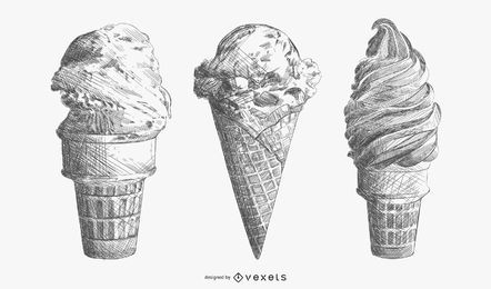 Hand drawn ice cream set