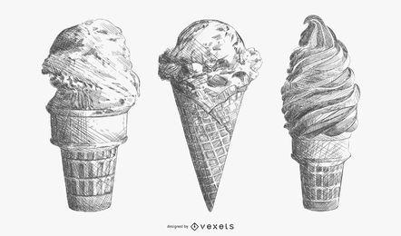Set de helado dibujado a mano